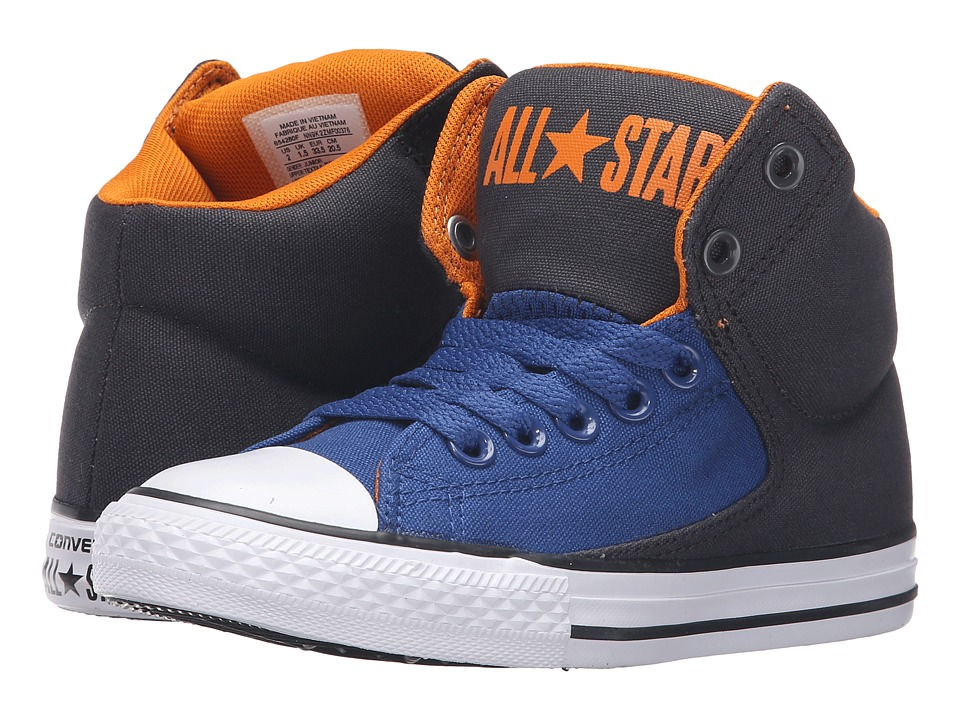 Converse Kids - Chuck Taylor All Star High Street Hi (Little Kid/Big Kid) (Almost Black/Vivid Orange/White) Boys Shoes