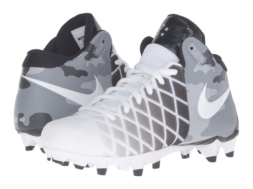 Nike Kids - Field General Pro TD BG Football (Little Kid/Big Kid) (White/Black/Metallic Silver/White) Boys Shoes