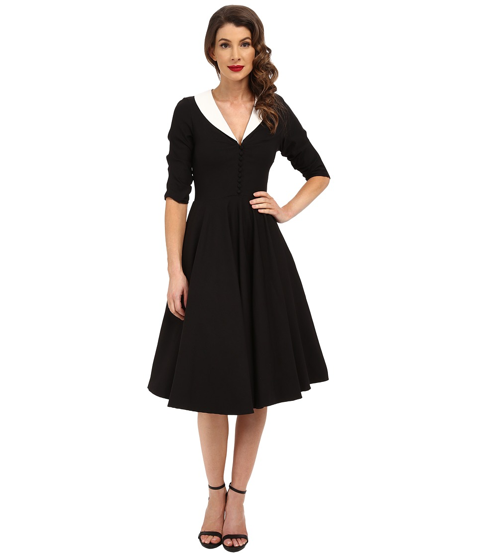 Unique Vintage - 3/4 Sleeve Eva Marie Swing Dress (Black/White) Women's Dress