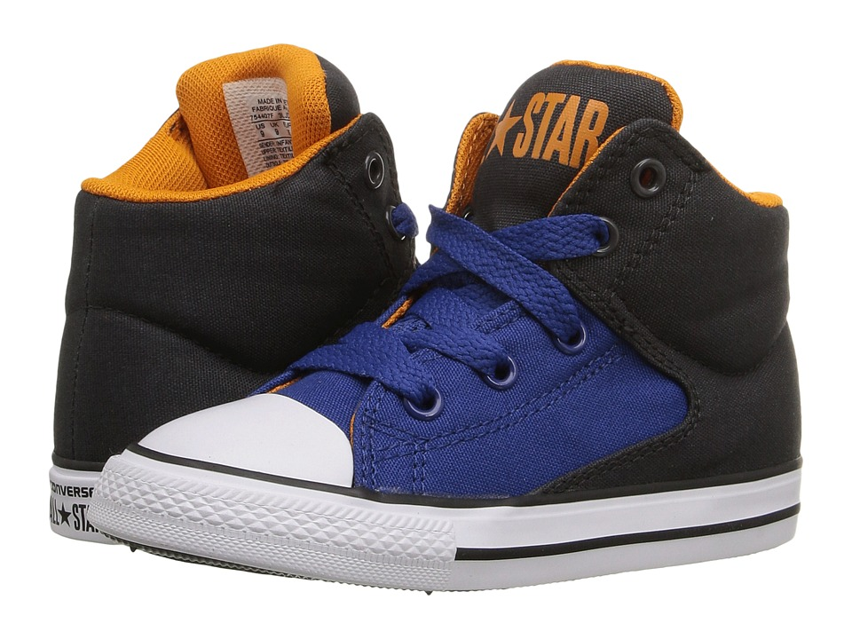 Converse Kids - Chuck Taylor All Star High Street Hi (Infant/Toddler) (Almost Black/Roadtrip Blue/White) Boys Shoes