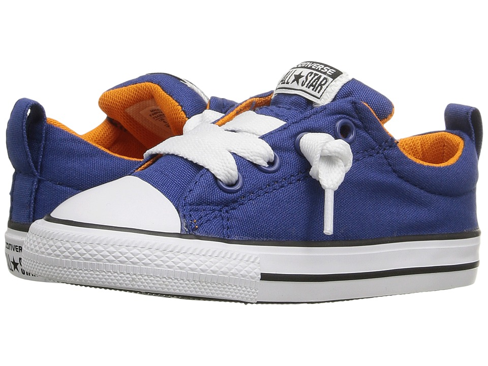 Converse Kids - Chuck Taylor All Star Street Mid (Infant/Toddler) (Roadtrip Blue/Vivid Orange/White) Boy's Shoes