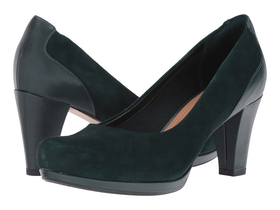 Clarks - Chorus Chic (Dark Green Suede) Women's Shoes