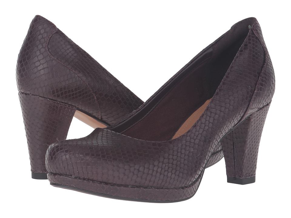 Clarks - Chorus Chic (Truffle Snake Leather) Women's Shoes