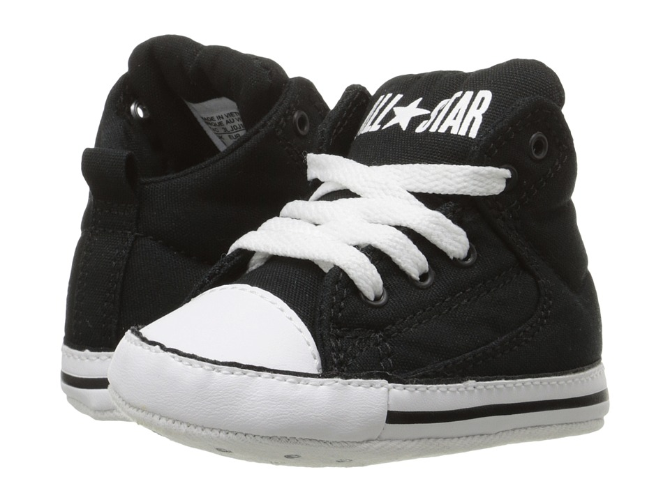 Converse Kids - Chuck Taylor All Star First Star High Street Crib (Infant/Toddler) (Black/Black/White) Boy's Shoes
