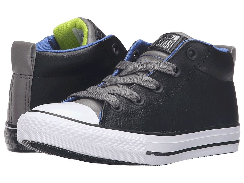 Converse Kids - Chuck Taylor All Star Street Mid (Little Kid/Big Kid) (Black/Charcoal Grey/White) Boys Shoes