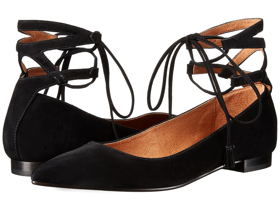 Frye Sienna Ghillie Ballet Black Suede Womens Flat Shoes