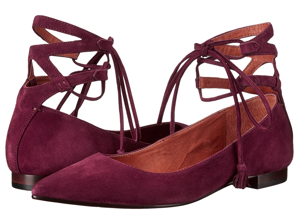 Frye Sienna Ghillie Ballet Bordeaux Suede Womens Flat Shoes