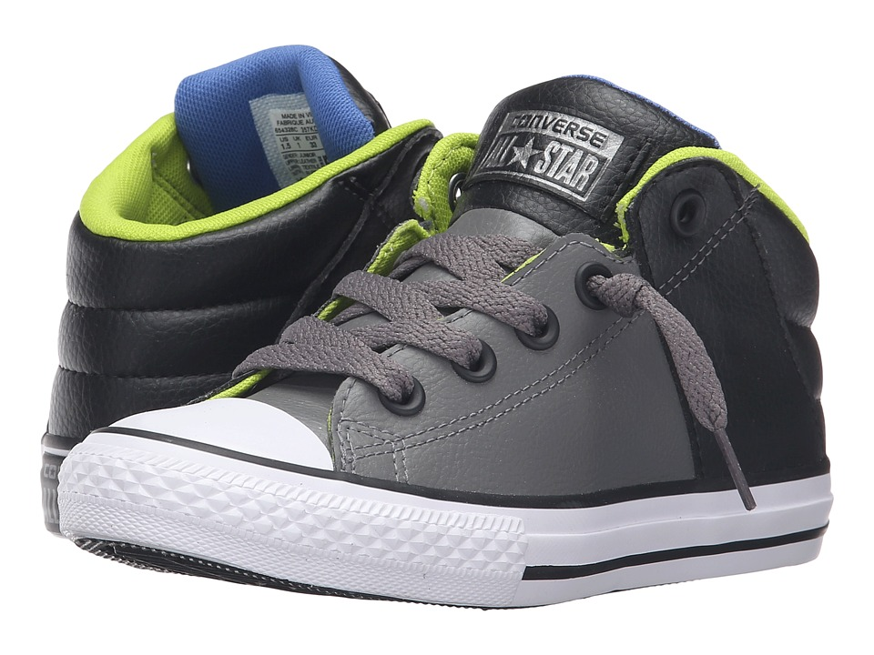 Converse Kids - Chuck Taylor All Star Axel Mid Leather (Little Kid/Big Kid) (Charcoal Grey/Black/White) Boys Shoes
