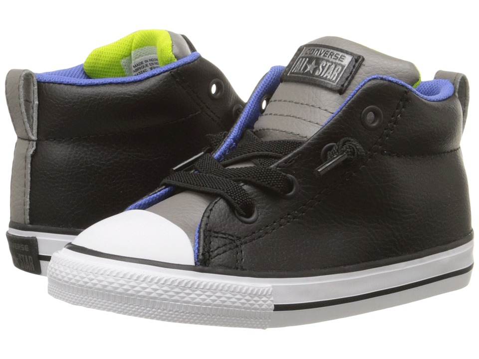 Converse Kids - Chuck Taylor All Star Street Mid Leather (Infant/Toddler) (Black/Charcoal Grey/White) Boy's Shoes