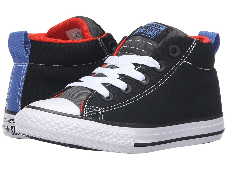 Converse Kids - Chuck Taylor All Star Street Mid (Little Kid/Big Kid) (Black/Signal Red/White) Boys Shoes