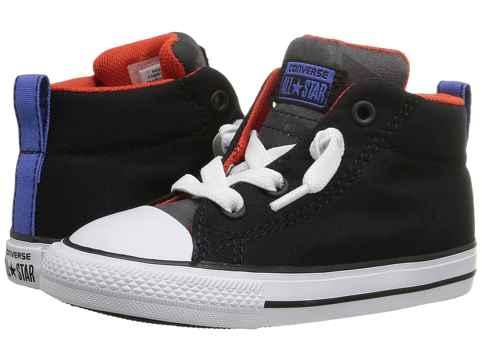 Converse Kids - Chuck Taylor All Star Street Mid (Infant/Toddler) (Black/Signal Red/White) Boy's Shoes