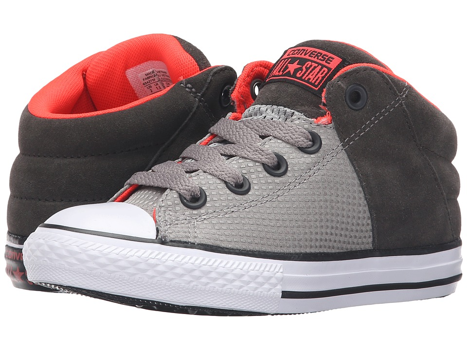 Converse Kids - Chuck Taylor All Star Axel Mid Suede (Little Kid/Big Kid) (Cadet Grey/Bright Crimson/White) Boys Shoes