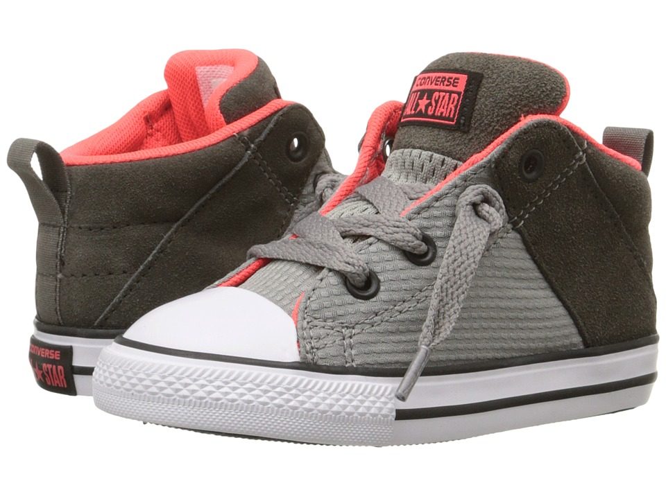 Converse Kids - Chuck Taylor All Star Axel Mid (Infant/Toddler) (Cadet Grey/Bright Crimson/White) Boy's Shoes