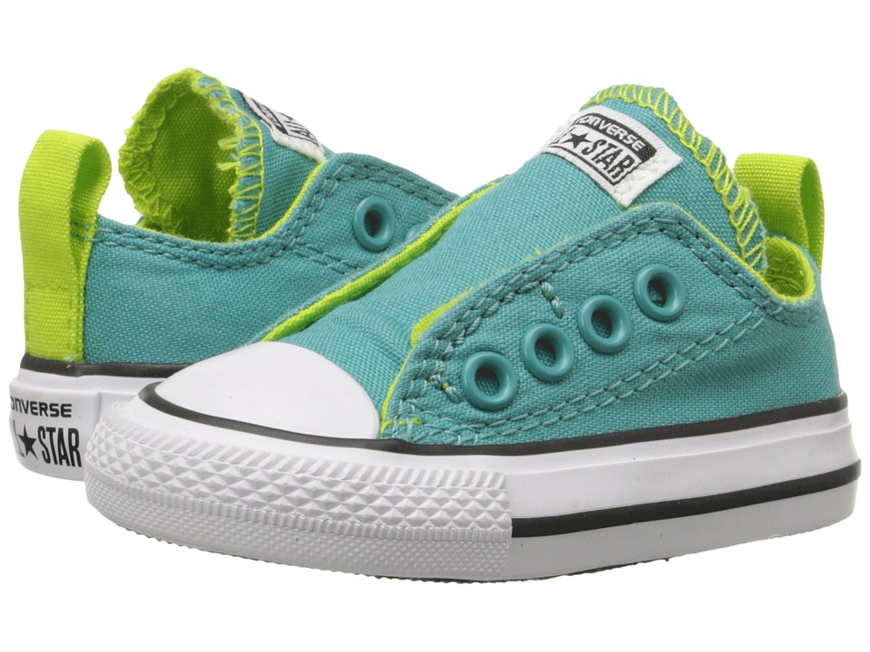 Converse Kids - Chuck Taylor All Star Simple Slip Ox (Infant/Toddler) (Aegean Blue/Bold Lime/White) Girls Shoes