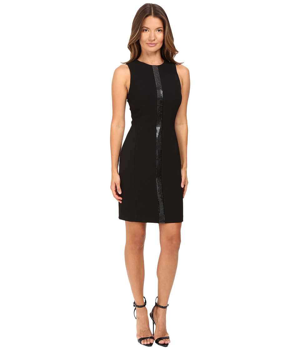 Versace Collection Crew Neck Sleeveless Dress with Front Embellish (Black) Women