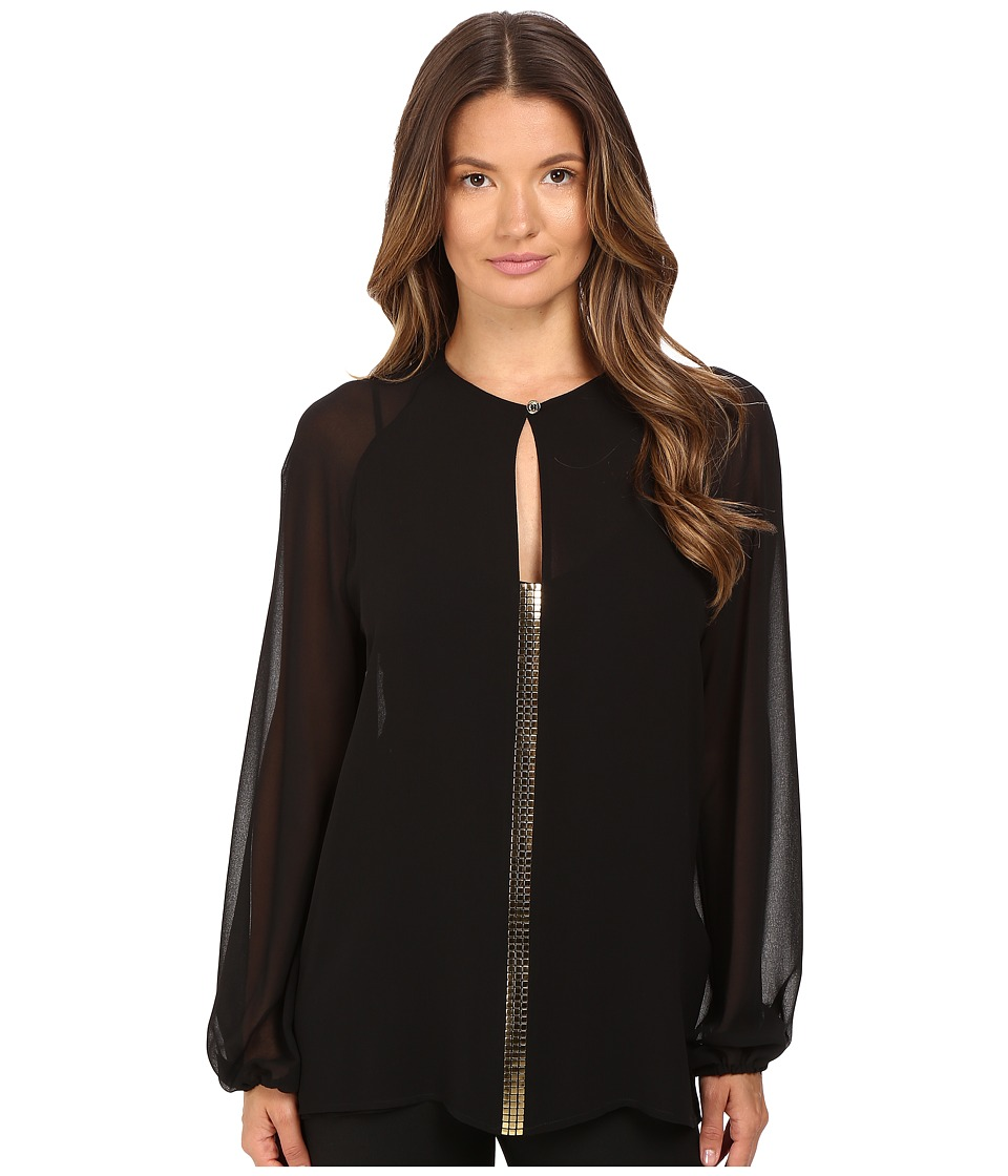 Versace Collection - Blouse with Gold Embellished Front V-Neck (Black) Women's Blouse