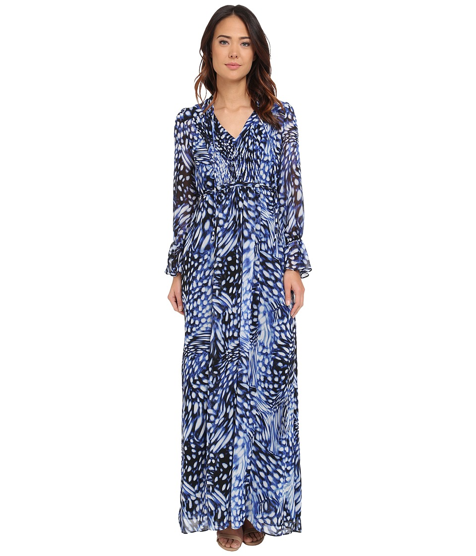 Adrianna Papell - Printed Maxi Dress with Ruffle Sleeve (Navy/Ivory) Women's Dress