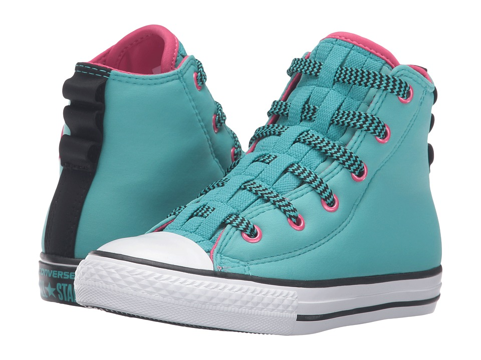Converse Kids - Chuck Taylor All Star Loopholes Hi (Little Kid/Big Kid) (Aegean Aqua/Vivid Pink/White) Girls Shoes