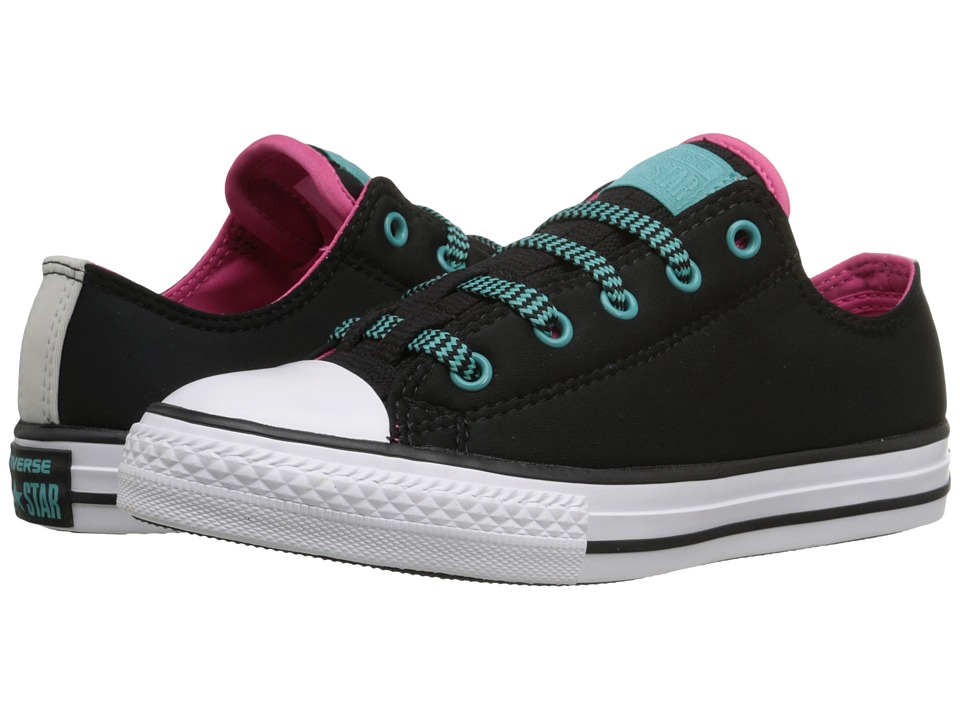Converse Kids Chuck Taylor All Star Loopholes Ox (Little Kid/Big Kid) (Black/Vivid Pink/White) Girl