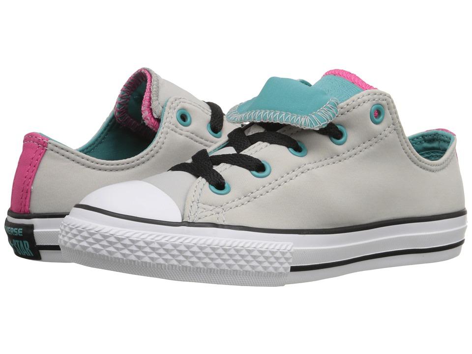 Converse Kids - Chuck Taylor All Star Double Tongue (Little Kid/Big Kid) (Ash Grey/Aegean Aqua/White) Girls Shoes