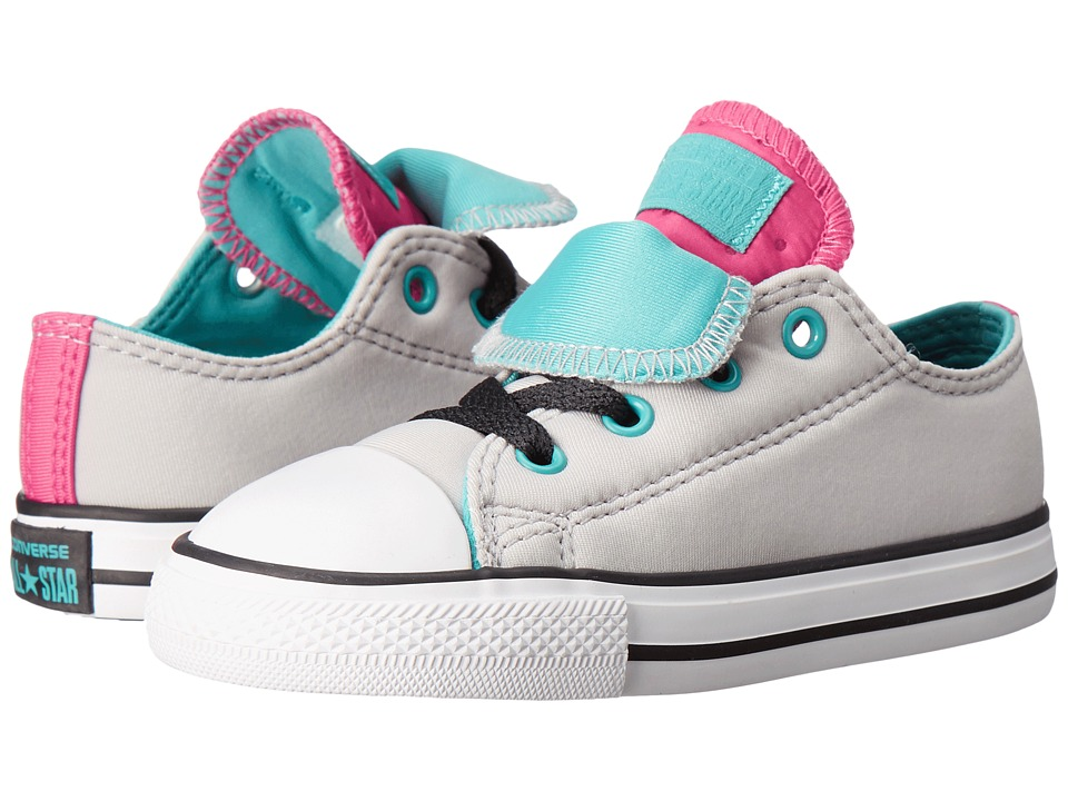 Converse Kids - Chuck Taylor All Star Double Tongue (Infant/Toddler) (Ash Grey/Aegean Blue/White) Girl's Shoes