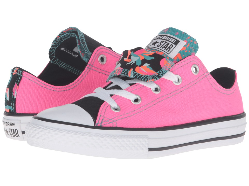 Converse Kids - Chuck Taylor All Star Double Tongue (Little Kid/Big Kid) (Neo Pink/White/Black) Girls Shoes