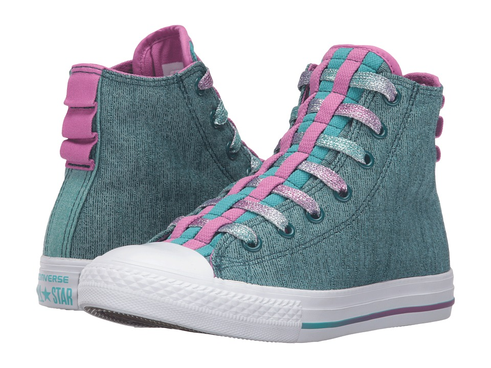 Converse Kids Chuck Taylor All Star Loopholes Hi (Little Kid/Big Kid) (Shadow Teal/Aegean Aqua/White) Girls Shoes