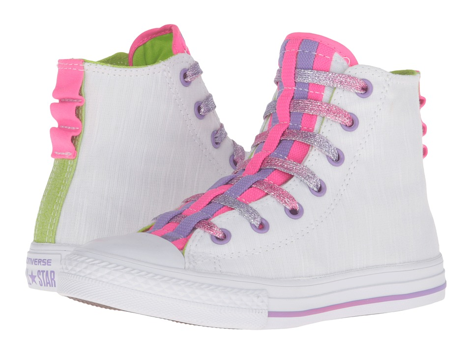 Converse Kids Chuck Taylor All Star Loopholes Hi (Little Kid/Big Kid) (White/Bold Lime/White) Girls Shoes