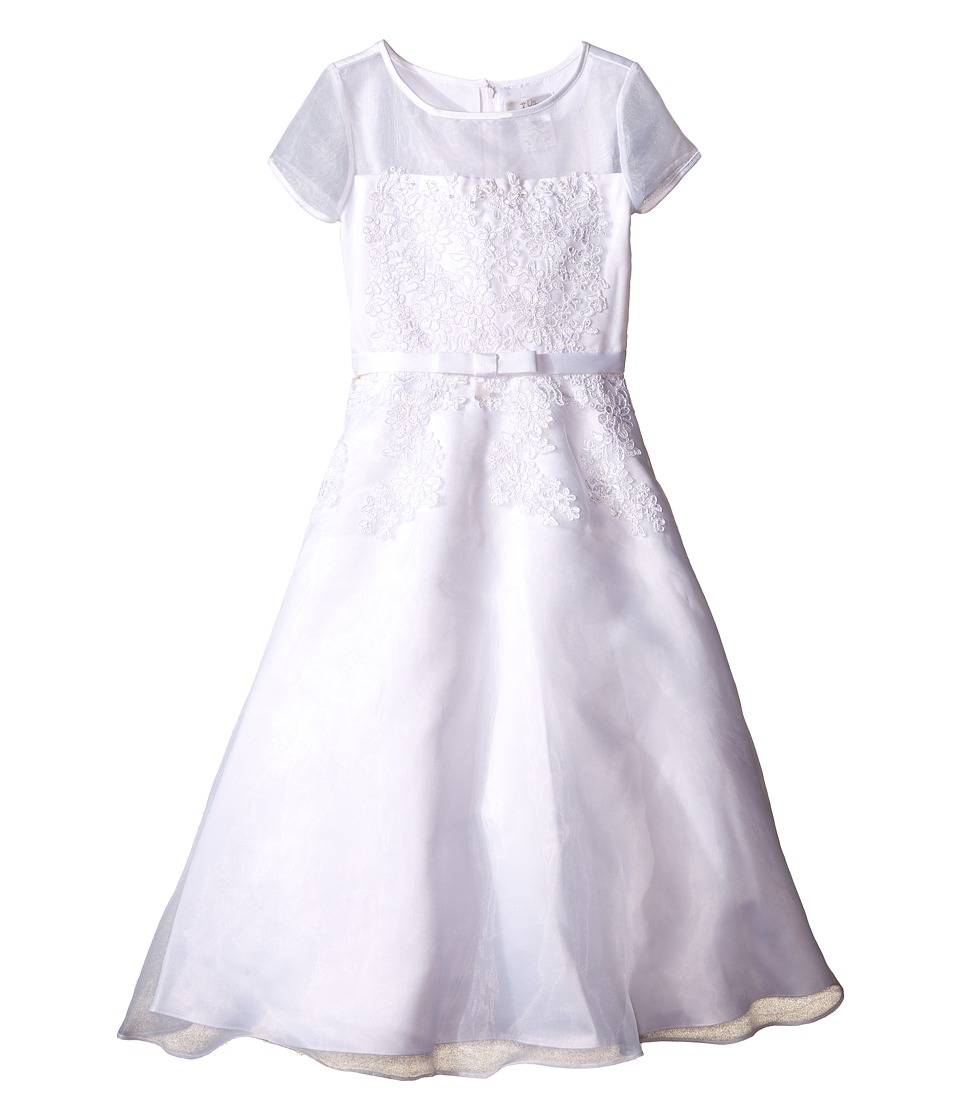 Us Angels - Short Sleeve Organza A-Line Dress w/ Embroidered Appliques (Little Kids/Big Kids) (White) Girl's Dress