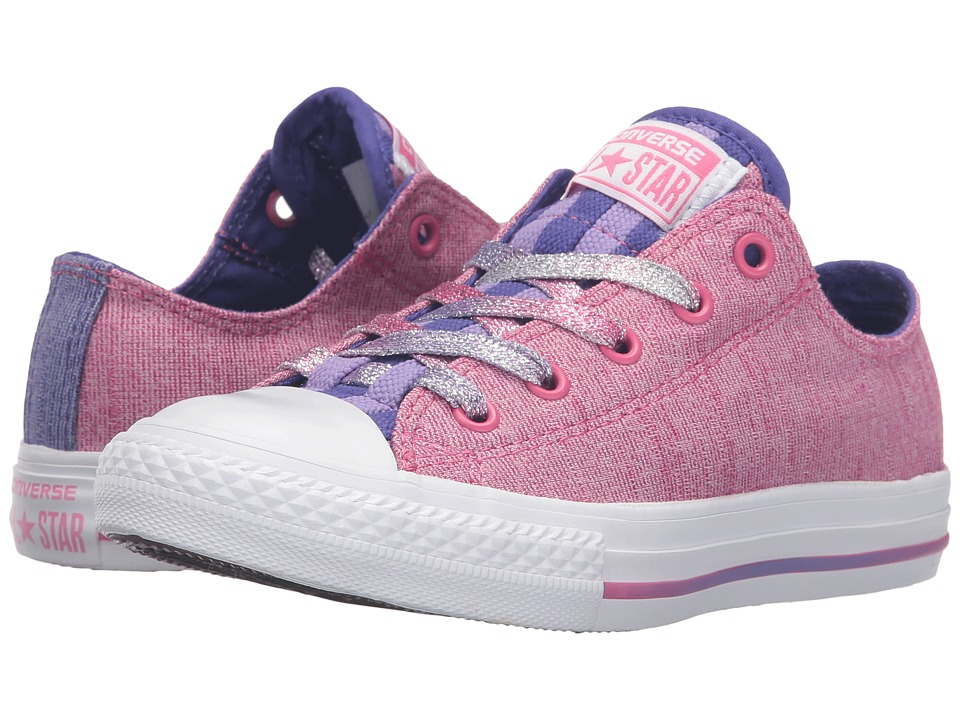 Converse Kids - Chuck Taylor All Star Loopholes Ox (Little Kid/Big Kid) (Mod Pink/Candy Grape/White) Girl