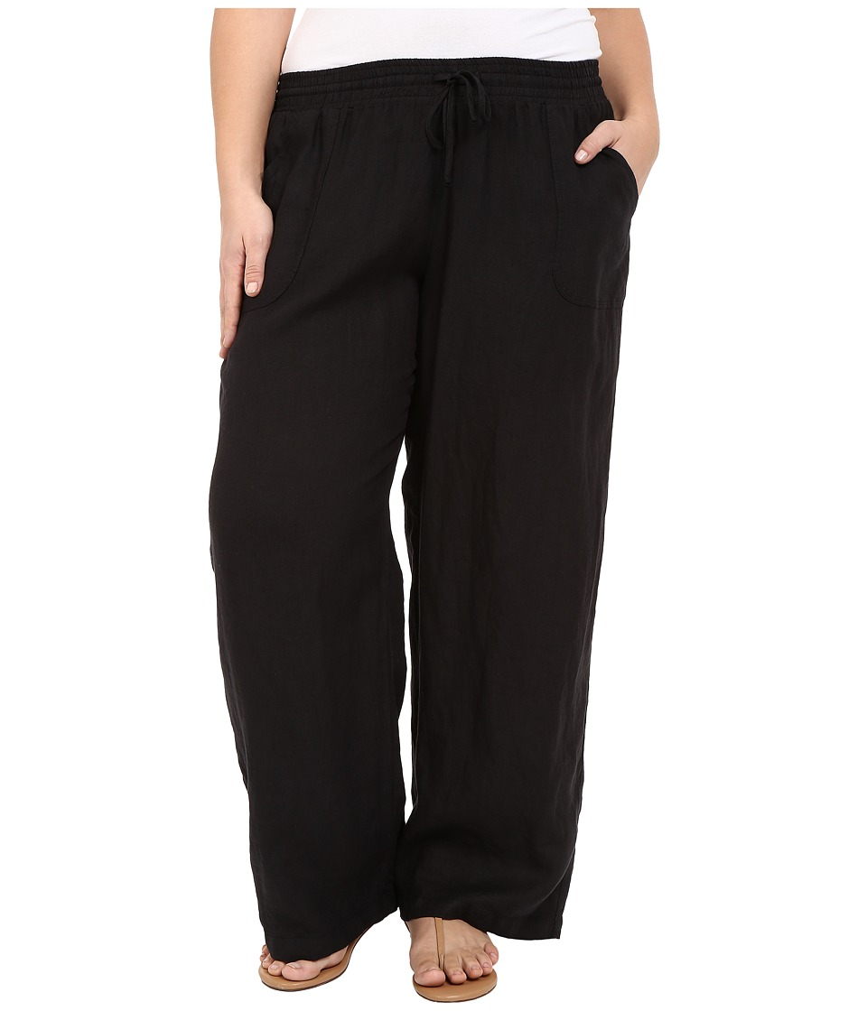 Allen Allen - Plus Size Linen Long Pants (Black) Women's Casual Pants
