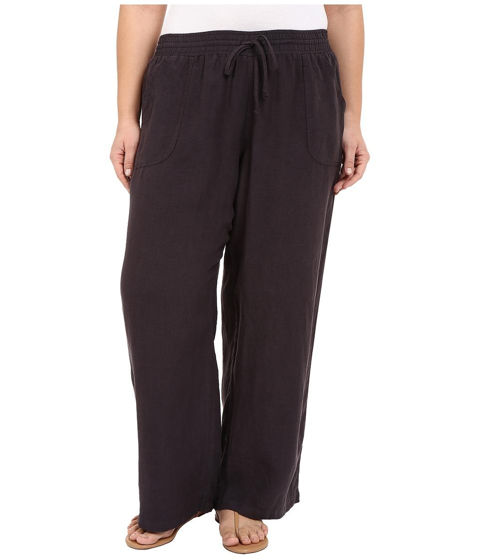 Allen Allen - Plus Size Linen Long Pants (Jet Grey) Women's Casual Pants