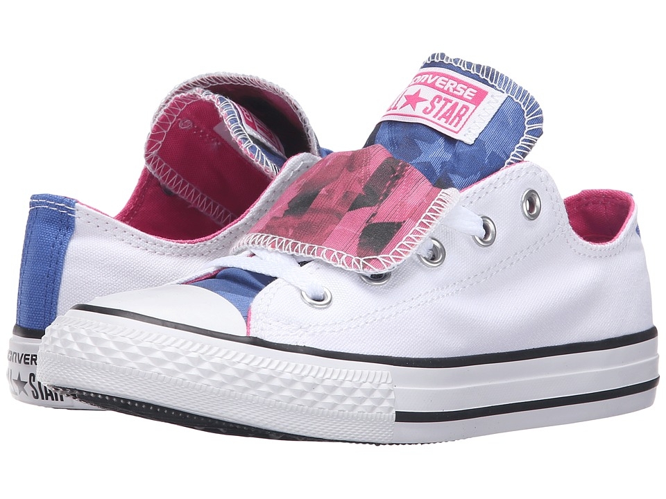 Converse Kids - Chuck Taylor All Star Double Tongue (Little Kid/Big Kid) (White/Mod Pink/White) Girls Shoes