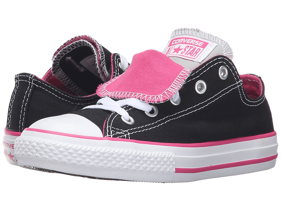 Converse Kids - Chuck Taylor All Star Double Tongue (Little Kid/Big Kid) (Black/Vivid Pink/White) Girls Shoes