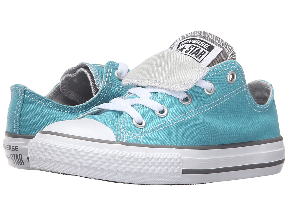 Converse Kids - Chuck Taylor All Star Double Tongue (Little Kid/Big Kid) (Aegean Aqua/Charcoal Gray/White) Girls Shoes