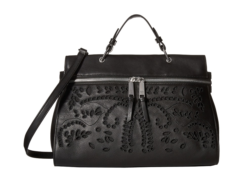 Ivanka Trump - Harper Satchel (Black Eyelet Leather) Satchel Handbags