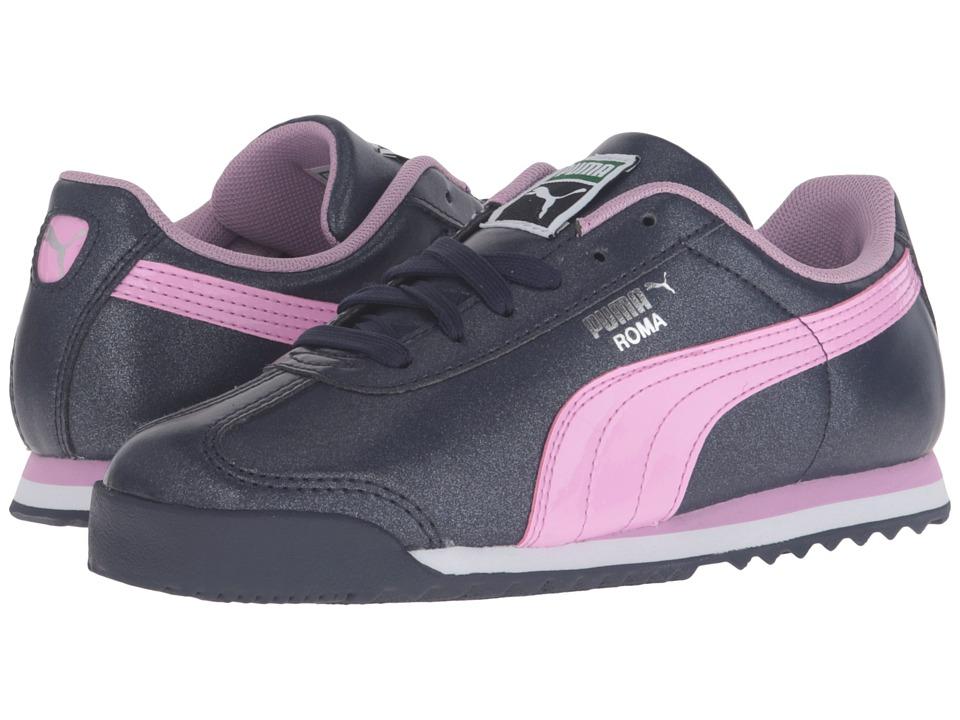 Puma Kids - Roma Glitter PS (Little Kid/Big Kid) (Peacoat/Pastel Lavender) Girls Shoes