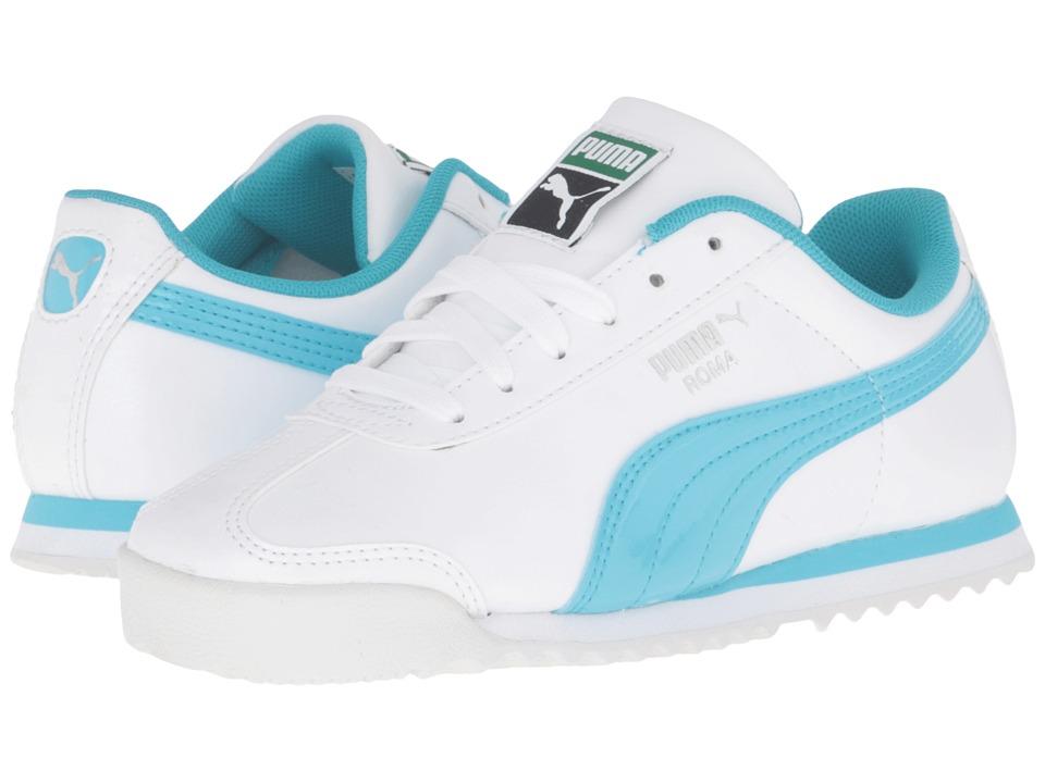Puma Kids - Roma Glitter PS (Little Kid/Big Kid) (Puma White/Blue Atoll) Girls Shoes