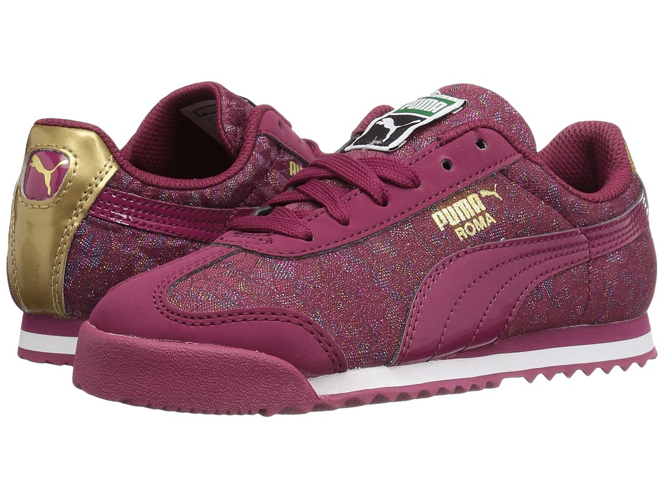Puma Kids - Roma Basic Gleam PS (Little Kid/Big Kid) (Red Plum/Red Plum) Girls Shoes