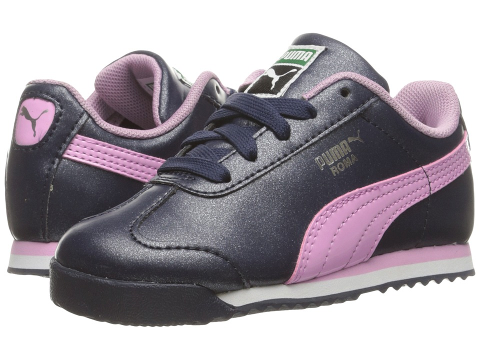 Puma Kids Roma Glitter Inf (Toddler) (Peacoat/Pastel Lavender) Girls Shoes