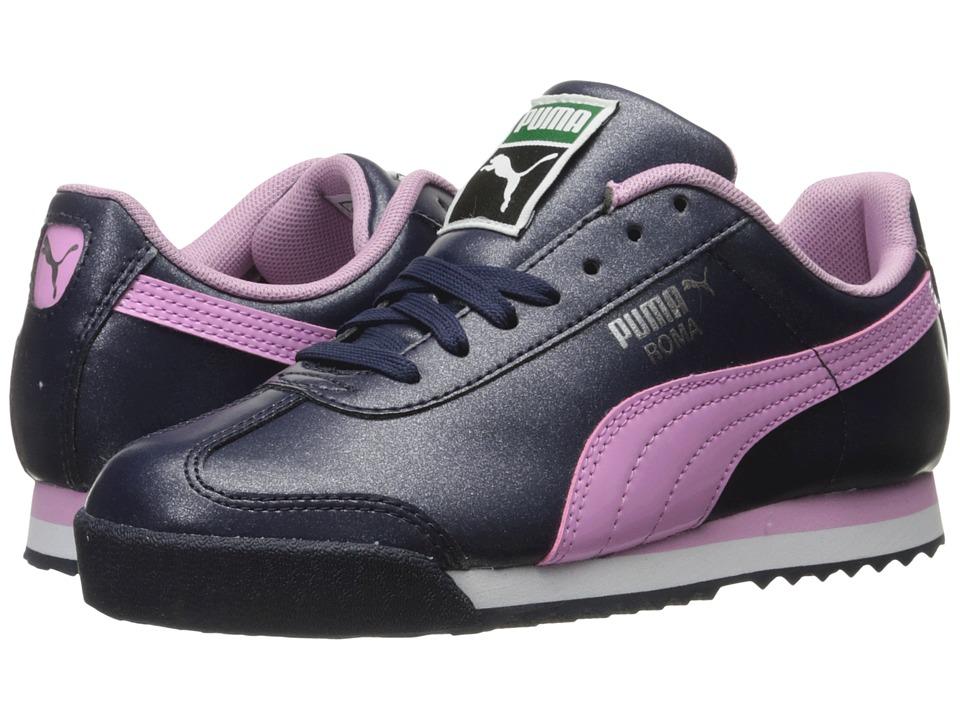 Puma Kids - Roma Glitter Jr (Big Kid) (Peacoat/Pastel Lavender) Girls Shoes