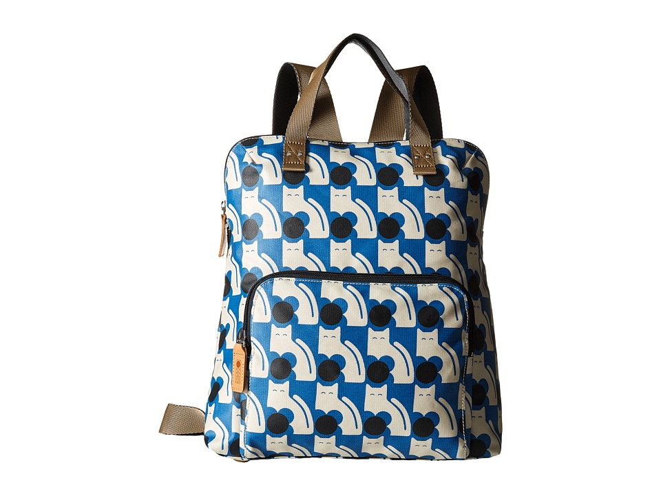 Orla Kiely - Poppy Cat Print Backpack Tote (Powder Blue) Backpack Bags