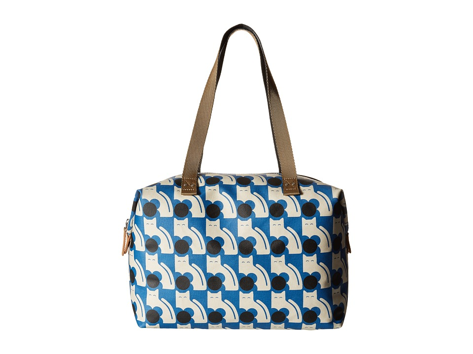 Orla Kiely - Poppy Cat Print Big Zip Shopper (Powder Blue) Tote Handbags