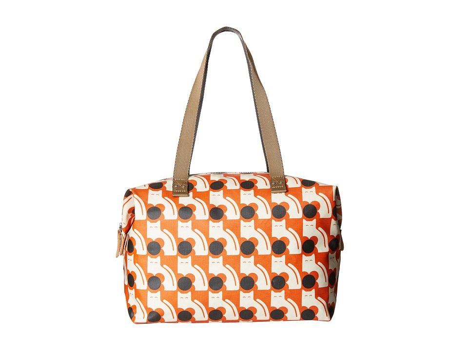 Orla Kiely - Poppy Cat Print Big Zip Shopper (Persimmon) Tote Handbags