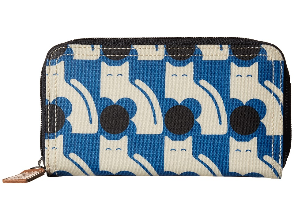 Orla Kiely - Poppy Cat Print Big Zip Wallet (Powder Blue) Wallet Handbags