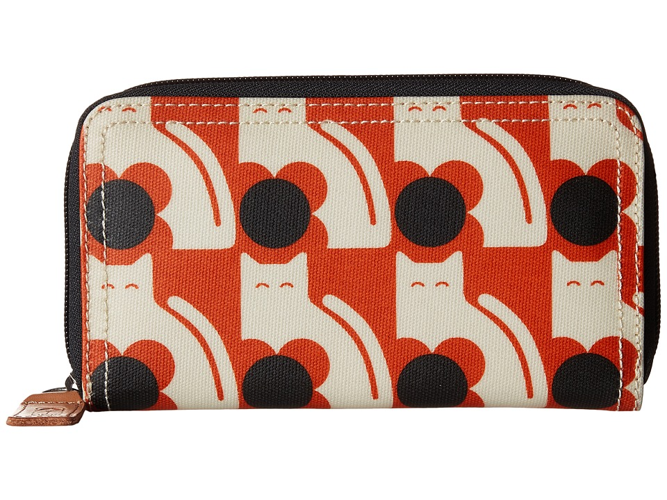 Orla Kiely - Poppy Cat Print Big Zip Wallet (Persimmon) Wallet Handbags