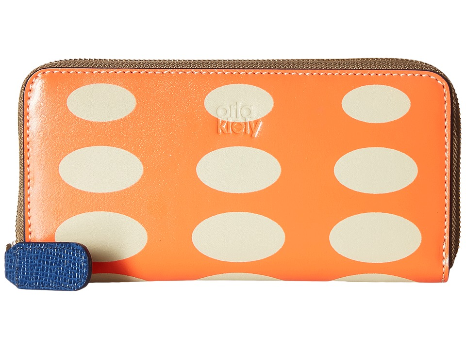 Orla Kiely - Oval Printed Big Zip Wallet (Orange) Wallet Handbags
