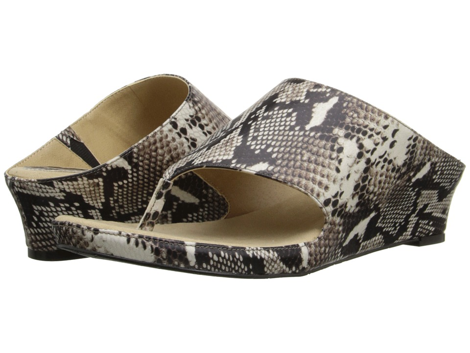 Tahari - Mindy (Black/White Roccia Snake Print) Women's Sandals