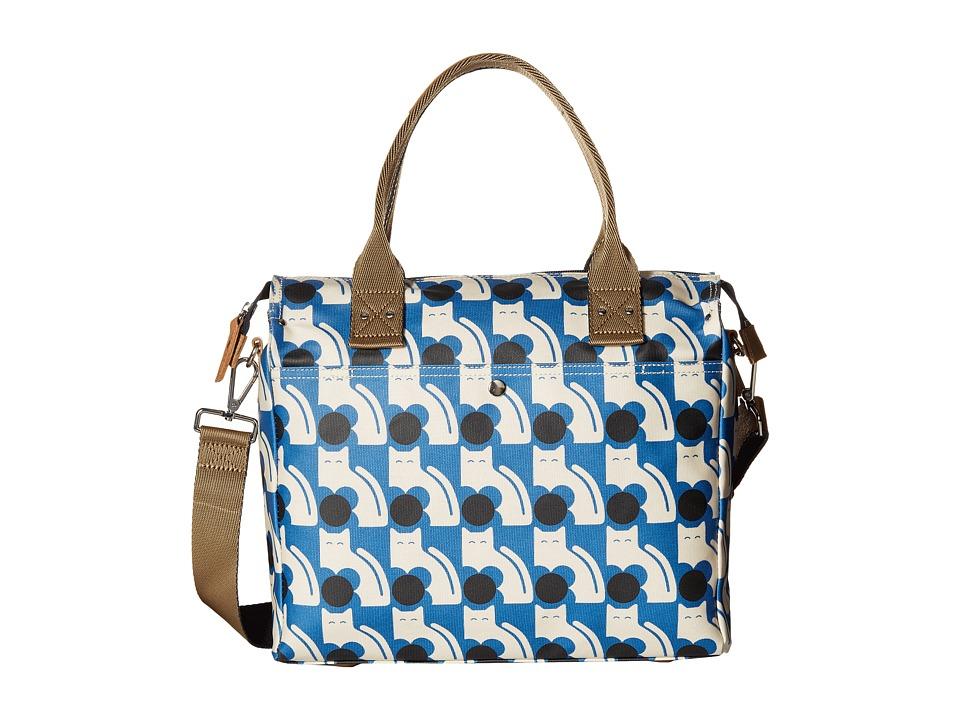 Orla Kiely - Poppy Cat Print Zip Messenger (Powder Blue) Messenger Bags