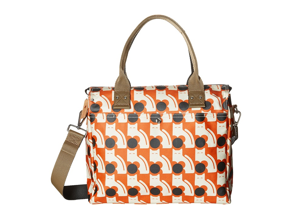Orla Kiely - Poppy Cat Print Zip Messenger (Persimmon) Messenger Bags